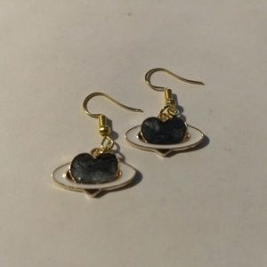 Jewelry - SPACE HEART EARRINGS - Jewelry Saturn Planet Love
